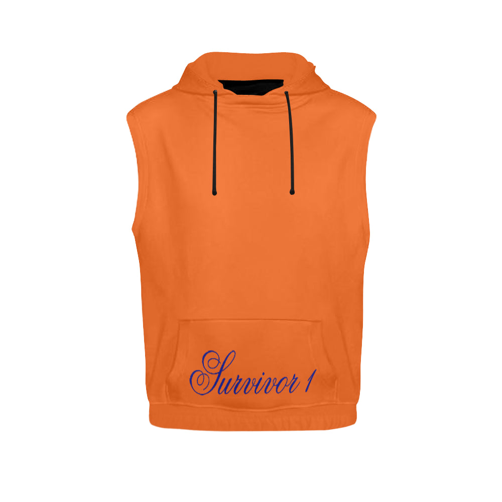 Orange and Blue Survivor 1 Text ® Women's All Over Print Sleeveless Hoodie (Model H15)