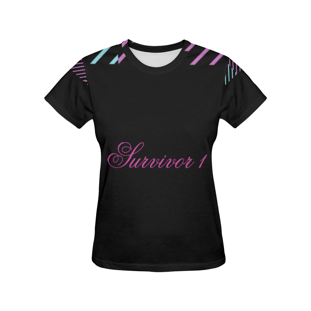 Pink and Blue Colour Lines With Survivor 1 Text ® Women's All Over Print T-shirt (USA Size) (Model T40)