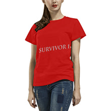 Red and Grey Survivor 1 Text ® Women's All Over Print T-shirt (USA Size) (Model T40)