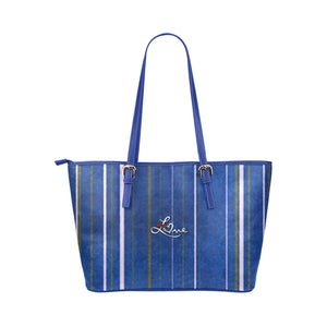 Blue, White and Grey Line Design With Love Text Survivor 1 Leather Tote Bag (Model1651) (Big)