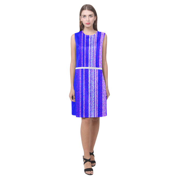 Lavendar, Blue and White Line Shimmer Design © Women's Sleeveless Dress (Model D01)