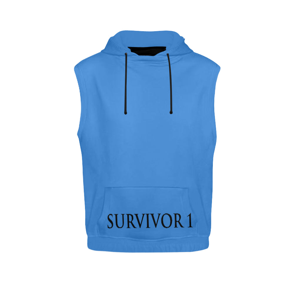 Blue and Black Survivor 1 Text ® Men's All Over Print Sleeveless Hoodie (Model H15)
