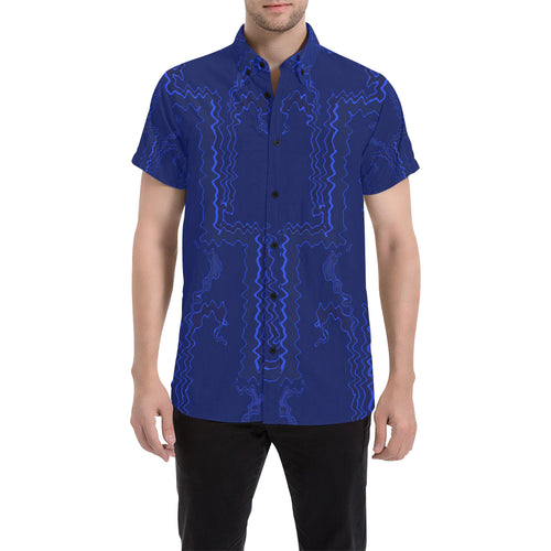 Blue Streak Design Men's All Over Print Short Sleeve Shirt (Large Size) (Model T53)