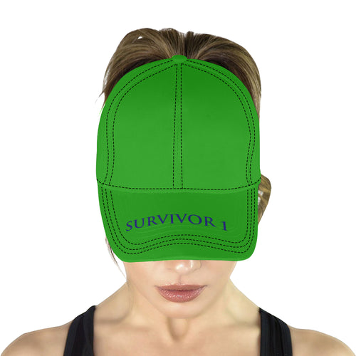 Green Cap With Blue Survivor 1 Text All Over Print Dad Cap