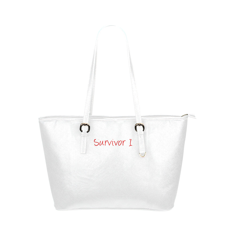 White Bag With Red Survivor 1 Text Leather Tote Bag (Model1651) (Big)