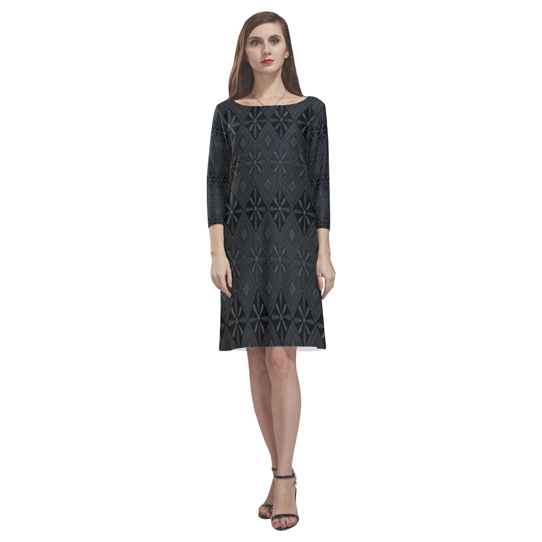 Grey and Black Floral Diamond Design © Loose Round Neck Dress(Model D22)