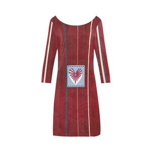 Ocean, Ruby, White, Blue and Red Striped Design With Heart In Square © Women's Boat Neck A-line Dress(Model D21)