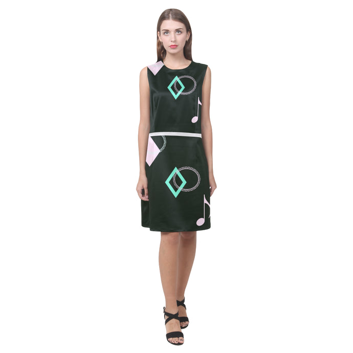 Music Note Design © Women's Sleeveless Dress (Model D01)