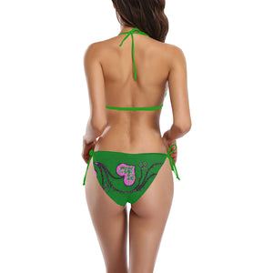 Green and Pink Heart Diamond Design Sexy Halter Bikini Swimsuit (Front Buckle) (Model S08)