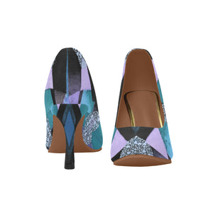 Lavender, Black and Teal Shimmer Heart Design Women's Pumps (Model 048)