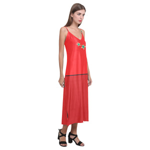 Red and Blue Star Design © V-Neck Open Fork Long Dress(Model D18)