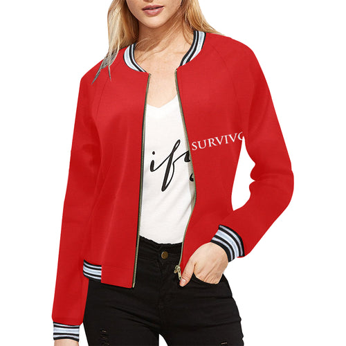 Red Jacket With White Survivor 1 Text ® Women's All Over Print Horizontal Stripes Jacket (Model H21)