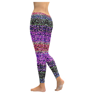 Lavender, Red Green and Blue Shimmer Color Design All-Over Low Rise Leggings (Model L07) (Outside Serging)