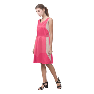 Cerise, Rose, Pink an Grey Shades © Sleeveless Pleated Dress(Model D07)