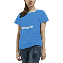 Blue and White Survivor 1 Text ® Women's All Over Print T-shirt (USA Size) (Model T40) (Large Size)