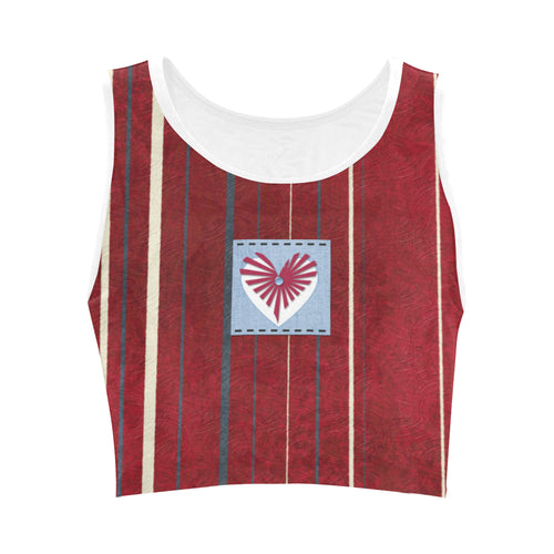 Red and Blue Heart Design © Women's Reversible Sports Bra (Model T42)