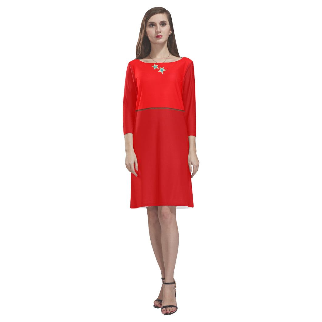 Scarlet, Red, White and Sappire Stars © Loose Round Neck Dress(Model D22)