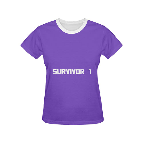 Purple and White Survivor 1 Text ® Women's All Over Print T-shirt (USA Size) (Model T40) (Large Size)
