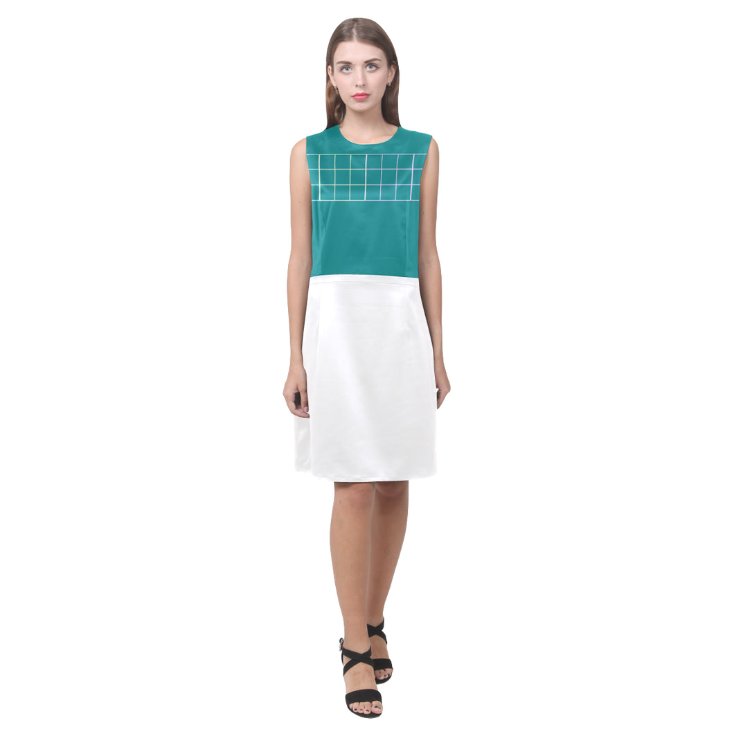 Tiffany Blue and White Box Design © Women's Sleeveless Dress (Model D01)