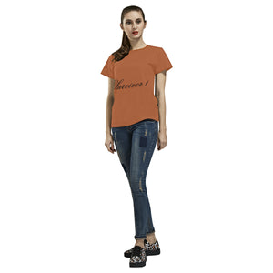 Brown and Black Survivor 1 Text ® Women's All Over Print T-shirt (USA Size) (Model T40)