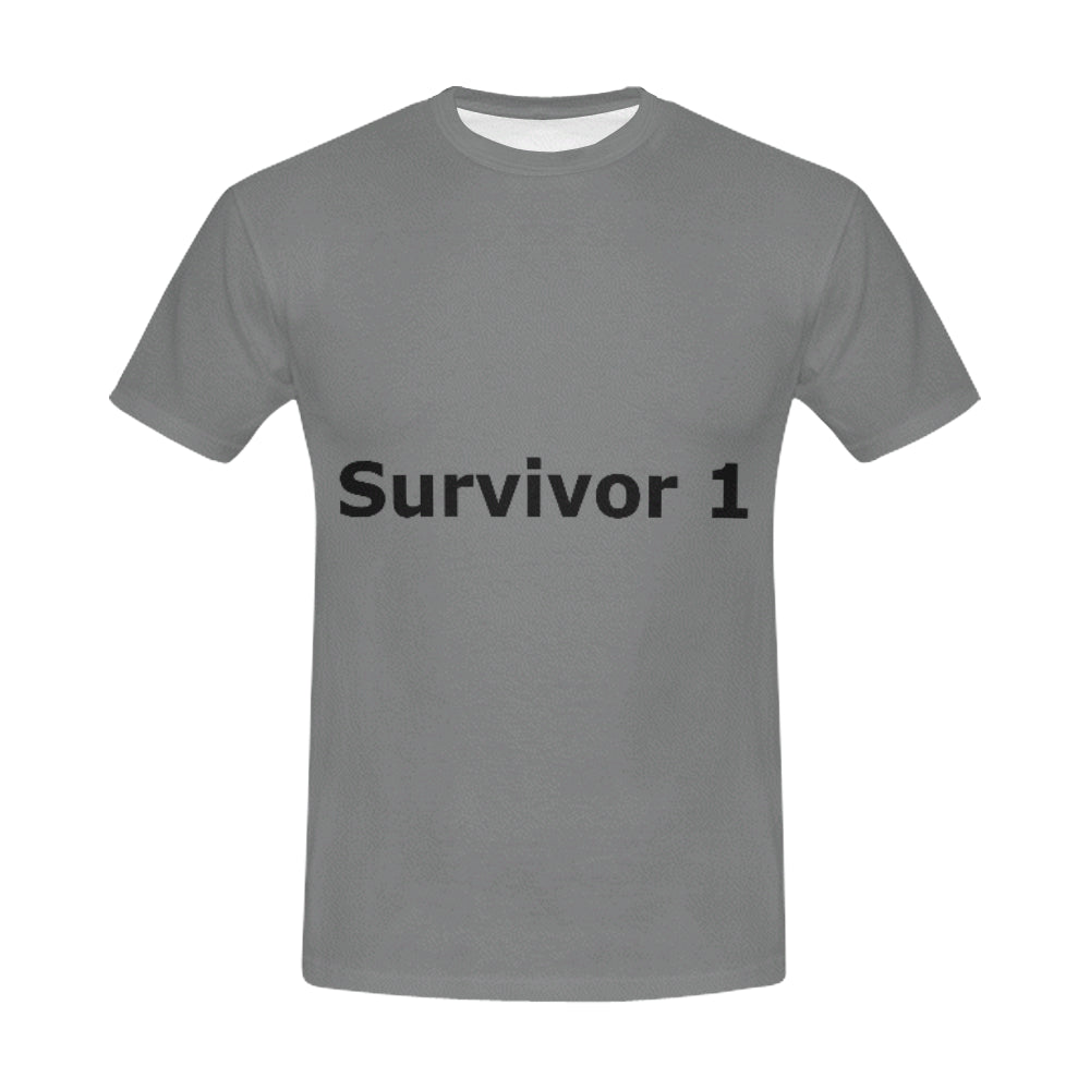 Grey and Black Survivor 1 Text ® Men's All Over Print T-shirt (USA Size) (Model T40)