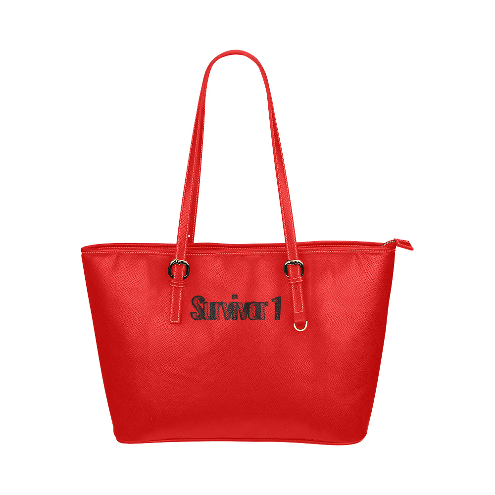 Red Bag With Black Survivor 1 Text Tote Bag(Model1651) (Small)