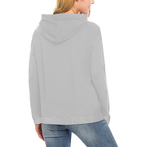 Grey and Black Survivor 1 Text ® Women's All Over Print Hoodie (USA Size) (Model H13)
