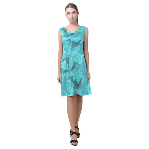 Teal and Blue Shimmer Leaves Survivor 1 © Sleeveless Pleated Dress(Model D07)
