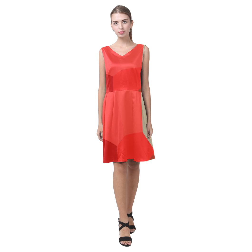 Candy, Crimson, Rose Red and Brown Shades © Sleeveless Pleated Dress(Model D07)