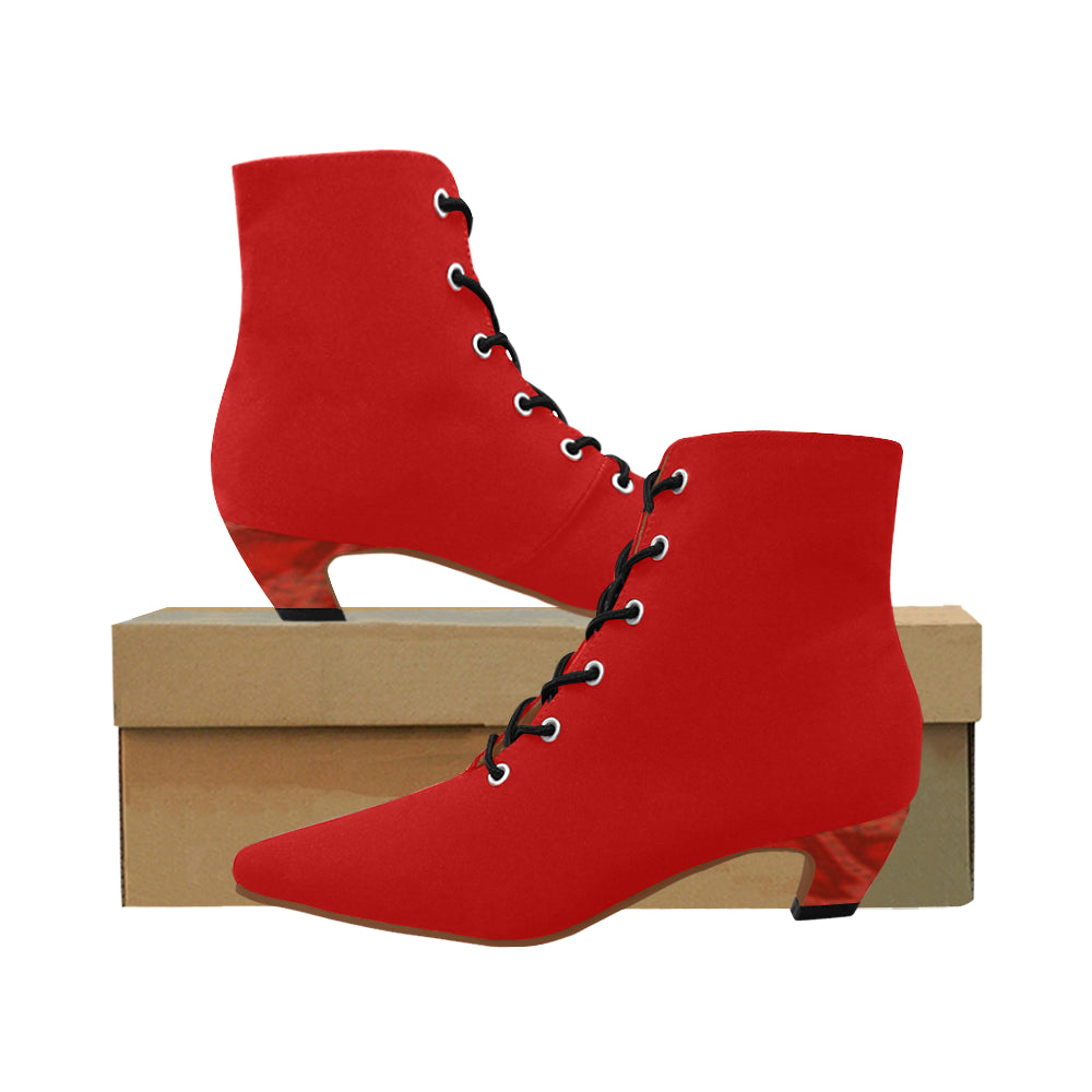 Red and Black Boots With red Design Heel Women's Chic Low Heel Lace Up Ankle High Boots (Model 052)