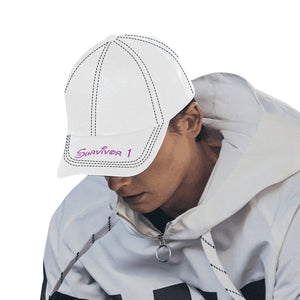 White Cap With Pink Survivor 1 Text All Over Print Dad Cap
