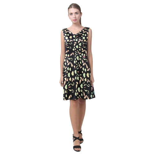 Black Colorful Heart Design Survivor 1 © Sleeveless Pleated Dress(Model D07)