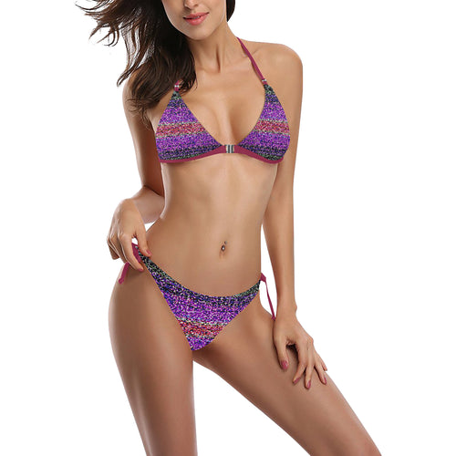 Blue, Red, Lavender and Purple Shimmer Design Sexy Halter Bikini Swimsuit (Front Buckle) (Model S08)