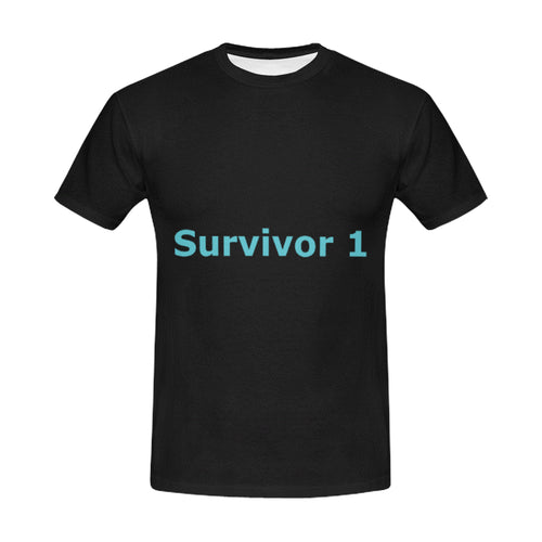 Black and Blue Survivor 1 Text ® Men's All Over Print T-shirt (USA Size) (Model T40)