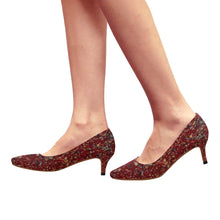 Red Colour Splash Design © Women's Pointy Toe Low Kitten Heel Pumps (Model 053)