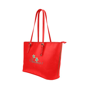 Red and Blue Star Design With Survivor 1 Text Leather Tote Bag (Model1651) (Big)