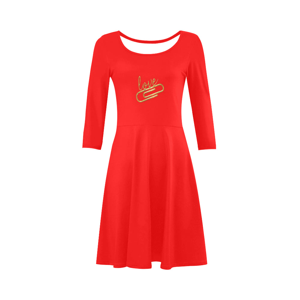 Red Design With Love Text © 3/4 Sleeve Sundress(Model D23)