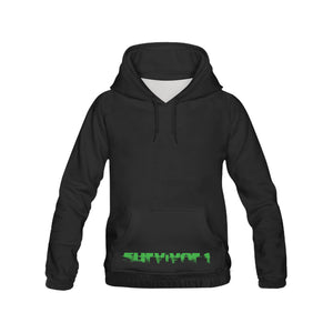 Green and Black Text ® Men's All Over Print Hoodie Large Size (USA Size) (Model H13)