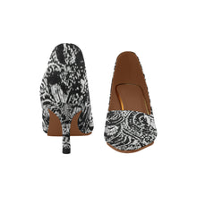 Black and White Sea Shell Design © Women's Pointy Toe Low Kitten Heel Pumps (Model 053)