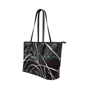 Black, White and Green Abstract Design Survivor 1 Leather Tote Bag (Model1651) (Big)