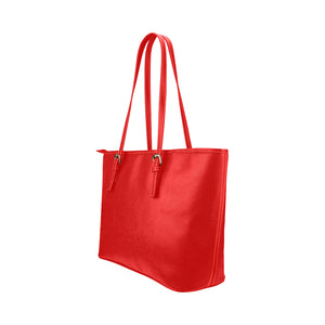 Red Bag With Survivor 1 Text Leather Tote Bag (Model1651) (Big)