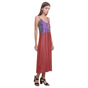 Lady Bug Red Colorful Shimmer Design © V-Neck Open Fork Long Dress(Model D18)