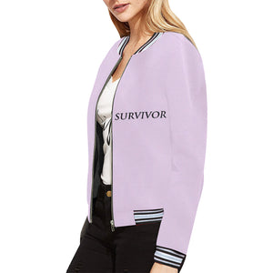 Pink Jacket With Black Survivor 1 Text ® Women's All Over Print Horizontal Stripes Jacket (Model H21)