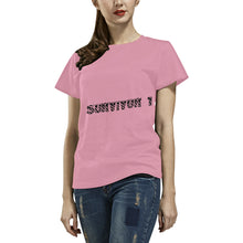 Black and Pink Survivor 1 Text ® Women's All Over Print T-shirt (USA Size) (Model T40)