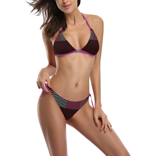 Maroon, Teal and Pink Line Design Sexy Halter Bikini Swimsuit (Front Buckle) (Model S08)
