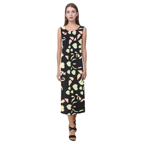 Black Colorful Heart Design Survivor 1 © Sleeveless Open Fork Long Dress(Model D08)