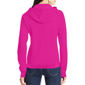 Hot Pink Sweater With White Survivor 1 Text Women's All Over Print Full Zip Hoodie (Model H14)