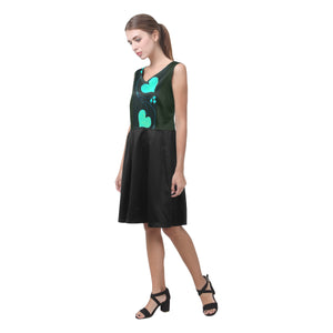 Black and Cerulean Blue Heart Design © Sleeveless Pleated Dress(Model D07)