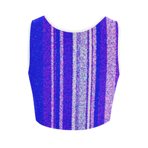 Blue, White and Lavender Stripe Shimmer Design © Women's Reversible Sports Bra (Model T42)