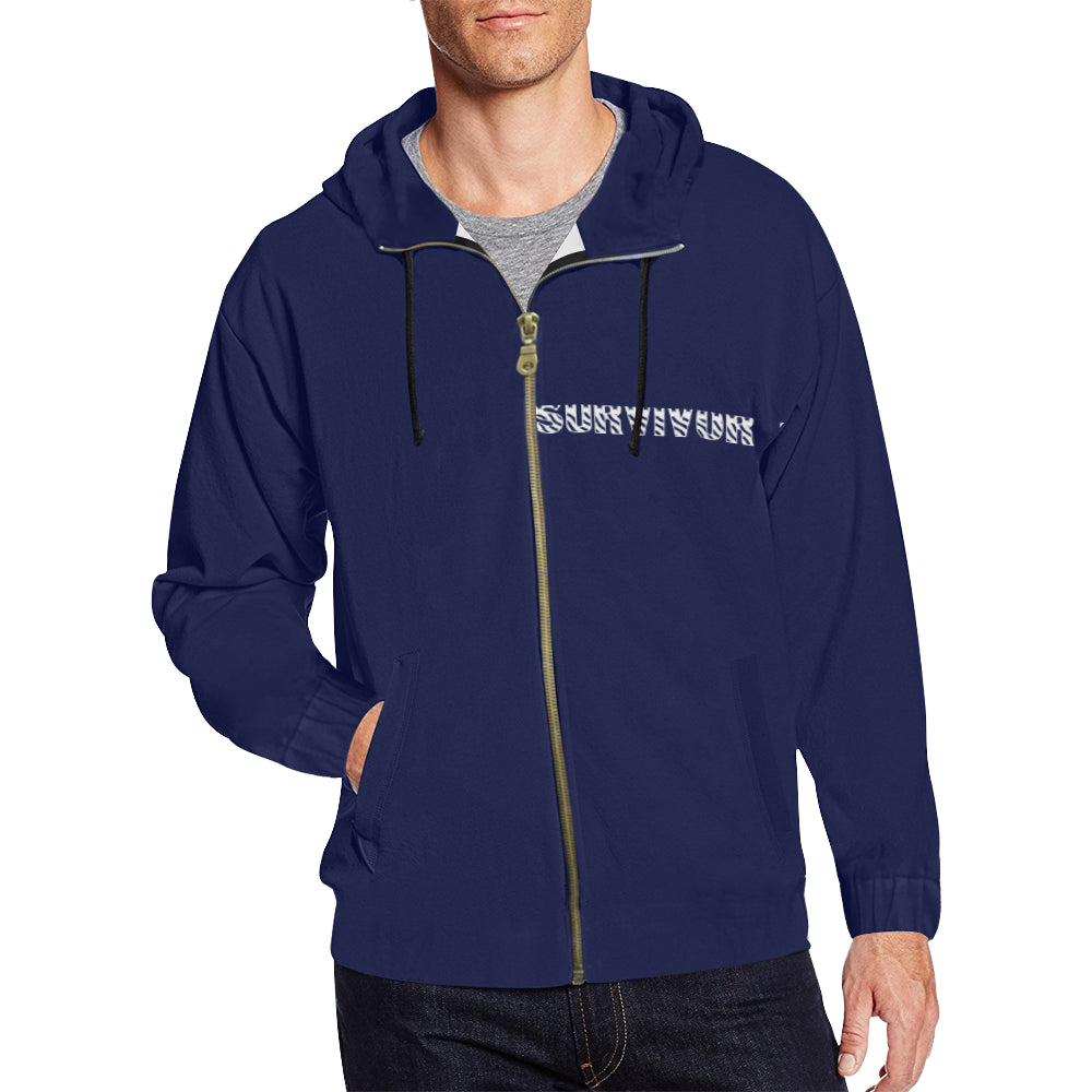 Blue and White Survivor 1 Text ® Men's All Over Print Full Zip Hoodie (Model H14)